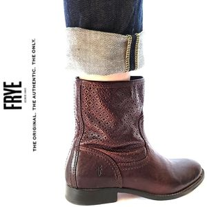 FRYE Perforated (rare) Whiskey Melissa Sz 8 Mahogany Colored Ankle Bootie